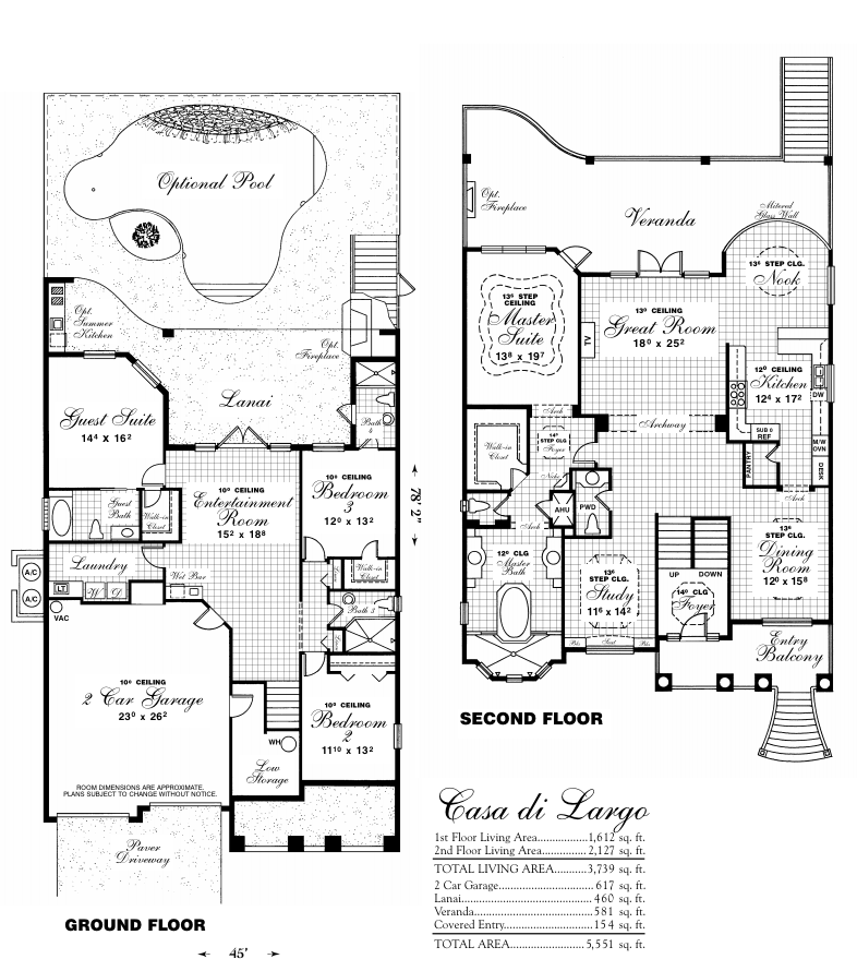 Floor plan of Casa di Largo with optional inground pool