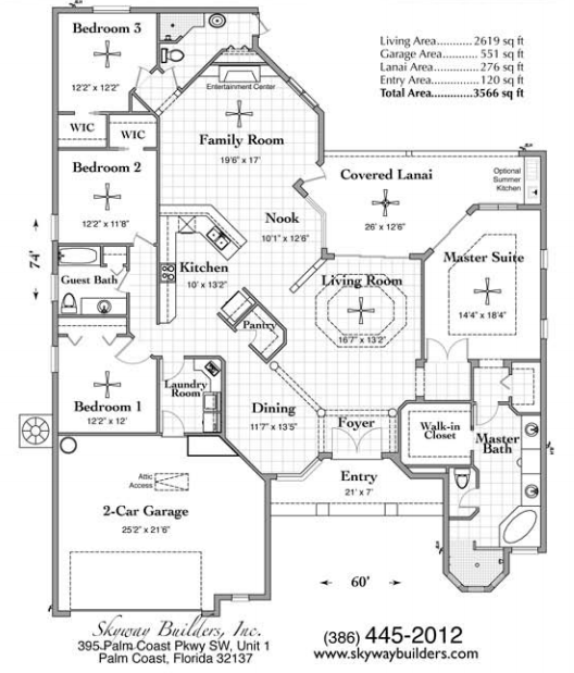 Floor Plan for Custom home with 3566 sq ft