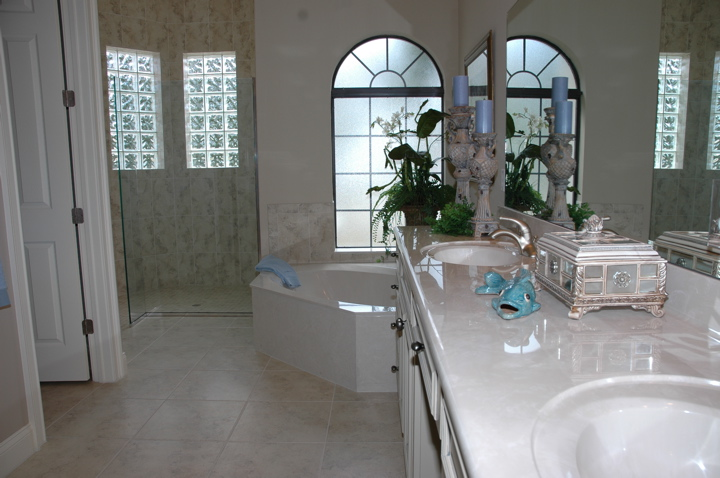 Master bathroom with custom tub, double vanity and shower