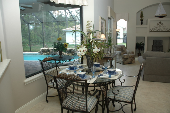 Dining area with view of covered lanai