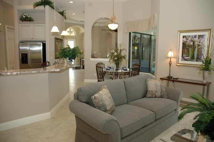Open concept featuring living area, dining area and kitchen