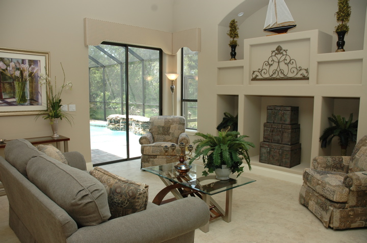 Contemporary living room with upscale furnishings