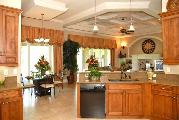 Kitchen, dining and living area of a custom built home