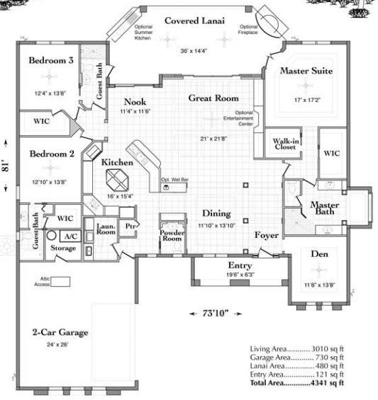 Floor plan of custom home model Barcelona with 4341 sq feet.