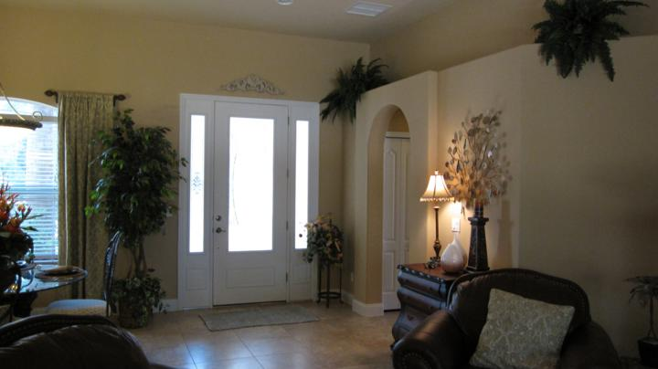 Inside view of front door with glass inset details