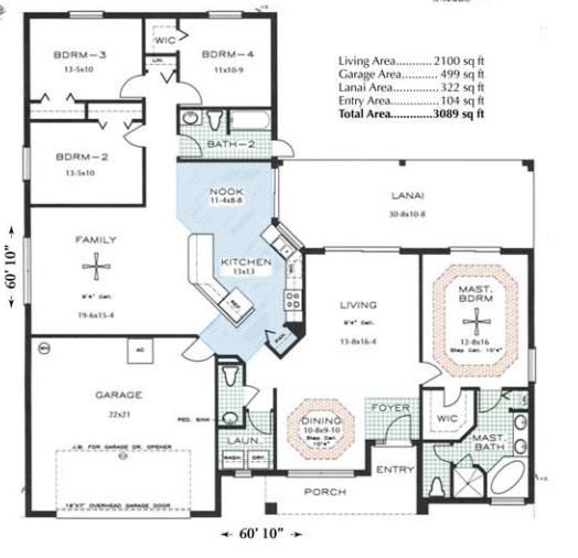 Floor plan of custom home model Cambridge