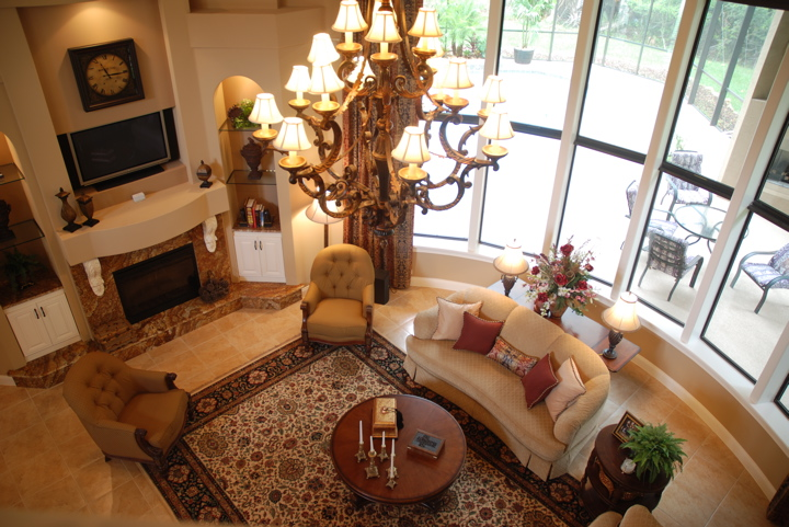 Overhead view of living room with contemporary decor