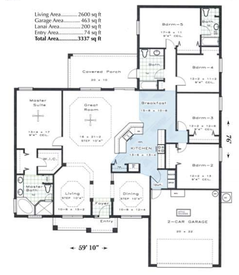 Custom floor plan for Harbor Breeze model home