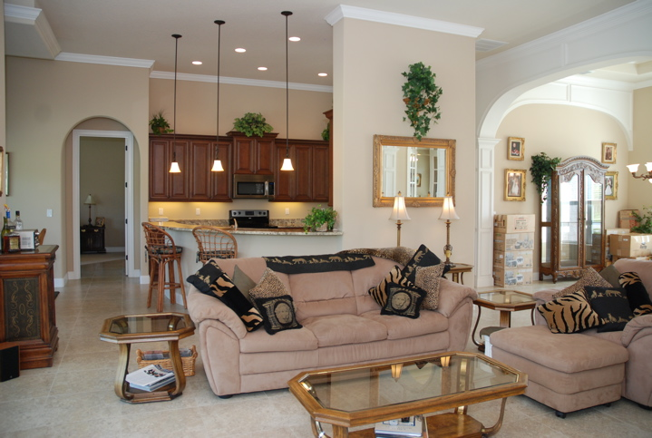 Living area and kitchen are in custom home