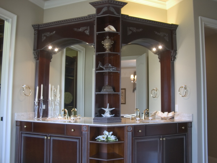Double vanity with custom cabinetry