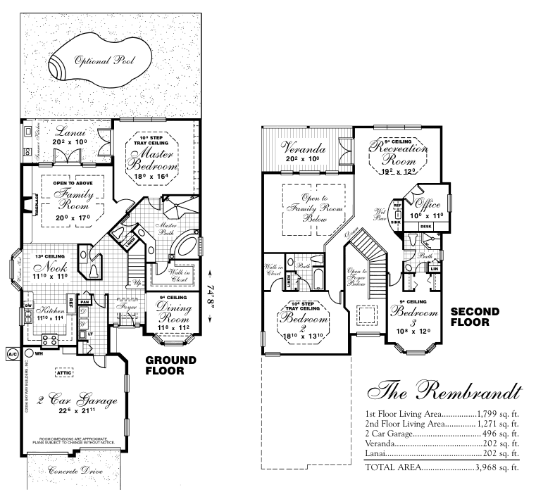 Rembrandt custom floor plan with optional pool