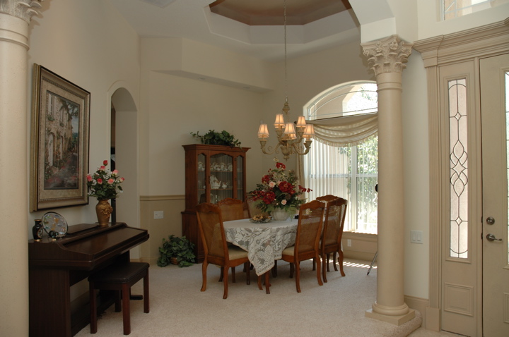 Formal dining area near home's entryway