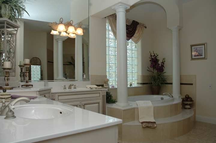 Set up bathtub in master bathroom of a custom designed home