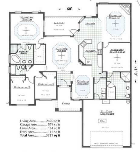 Custom designed floor plan boasting 3321 square feet.