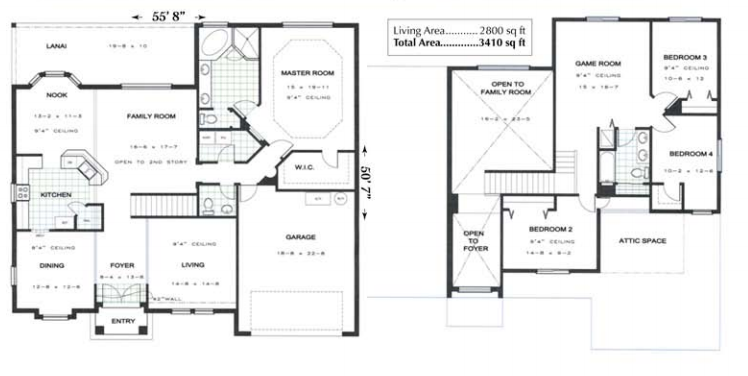 Floor plan and square footage of the Yorklyn model home by Skyway Builders
