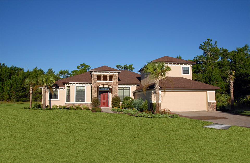 Street view of Kimberly Model home with red door