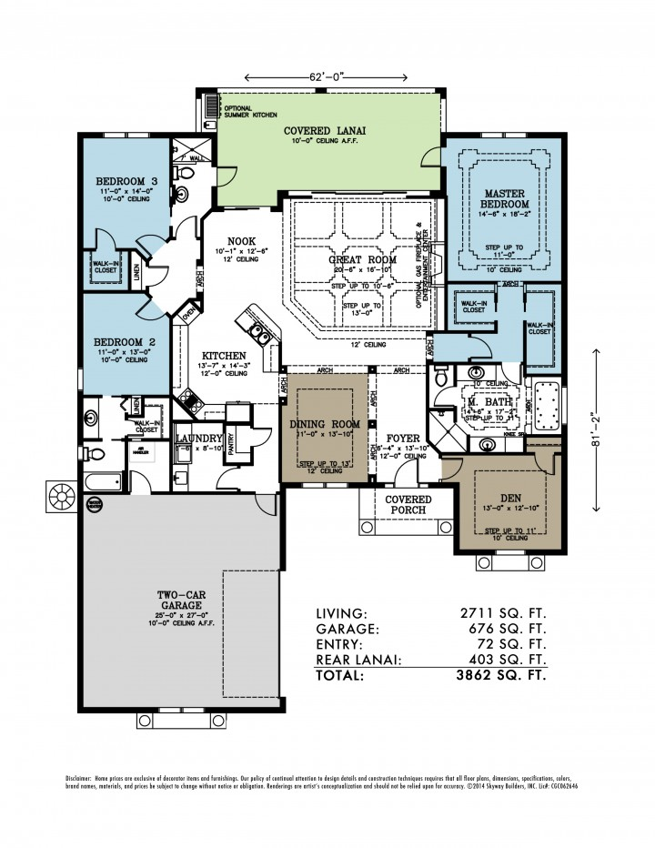 Illustrated Piper Lynn floor plan with two car garage