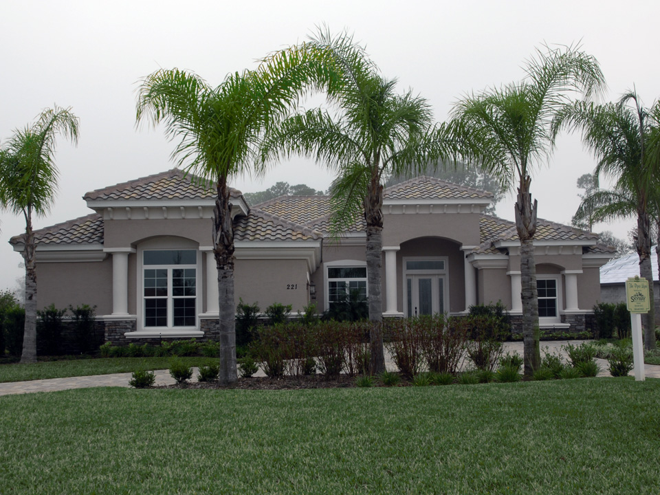 Landscaped yard with bushes and palm trees in front of home