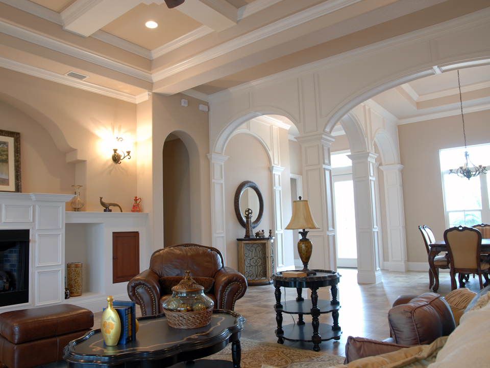 Vaulted ceilings with white details in a custom home