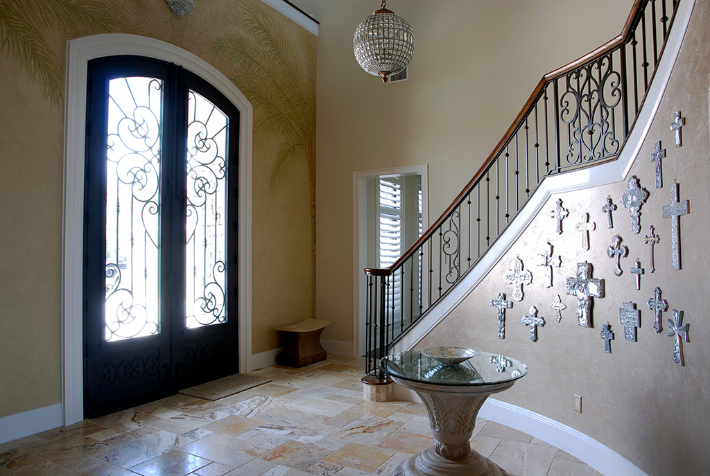 indoor entryway with crystal ball shaped chandelier