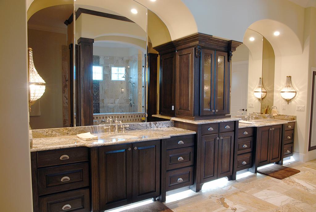 Dark cabinets in master bathroom