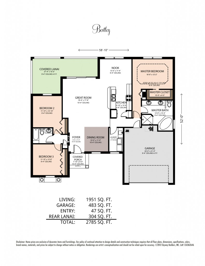 Floor plan including square footage for the Bentley V home model