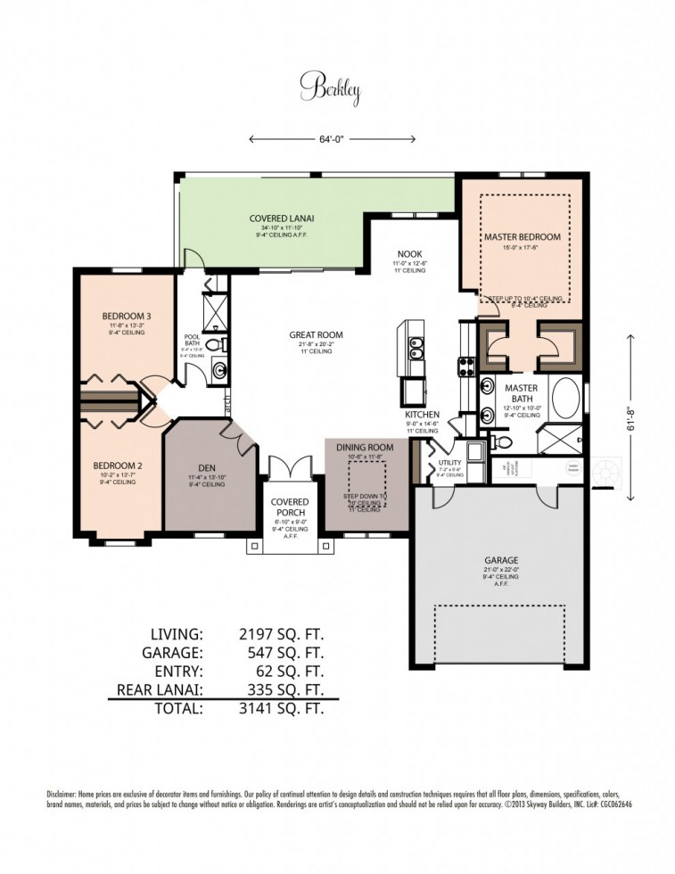 Floor plan with square footage for the Berkley custom home