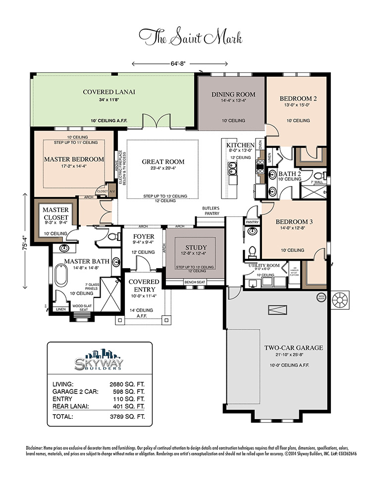 Floor plan layout for the custom built Saint Mark model