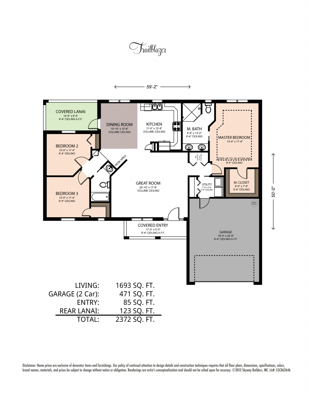 Custom floor plan of the Trailblazer with 2372 square feet