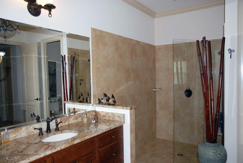 Open walk in shower and single vanity sink