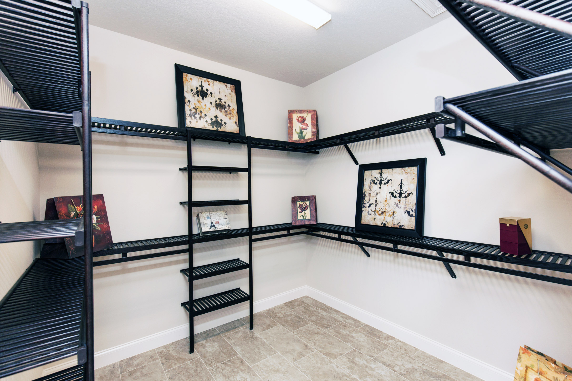 Walk in closet with white walls and dark shelving