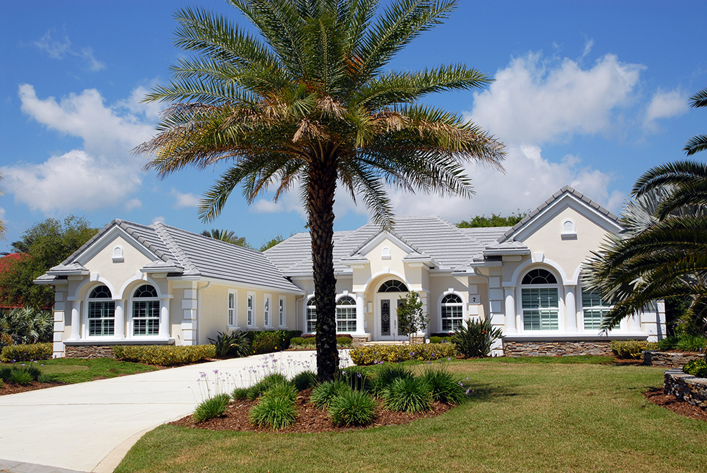 Landscape image of a custom model home with landscaped yard including palm trees and green grass