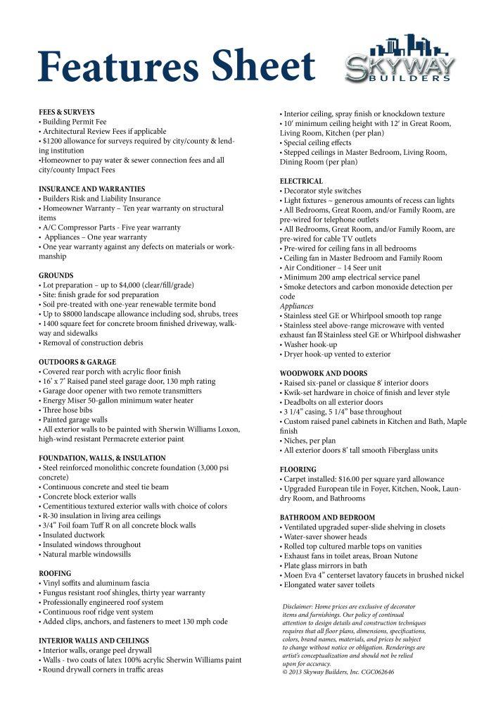 Skyway Builder Feature Sheet