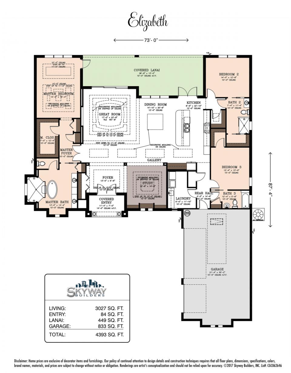 Floor plan of Custom Home Model the Elizabeth
