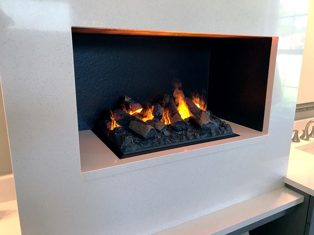 modern fireplace in bathroom